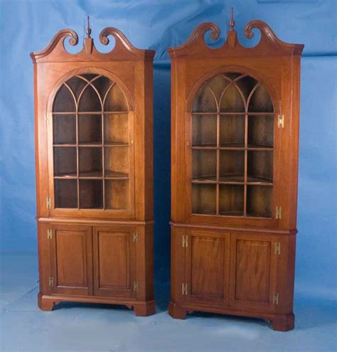 Pair of Mahogany Corner Cabinets For Sale   Antiques.com   Classifieds