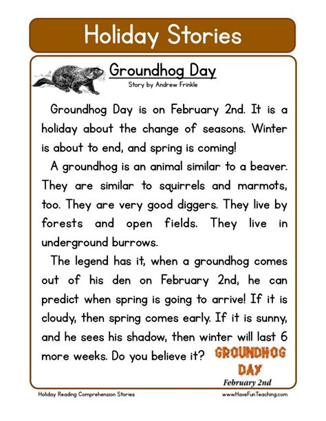 groundhog day questions reading comprehension worksheet groundhog day
