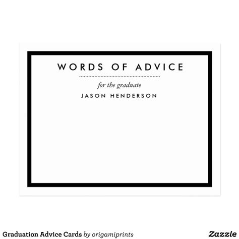 word graduation advice card template graduation advice cards zazzle
