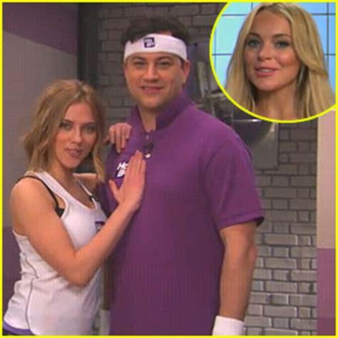 Lindsay Lohan And Blunt Together by Lindsay Lohan Johansson Join Jimmy Kimmel S