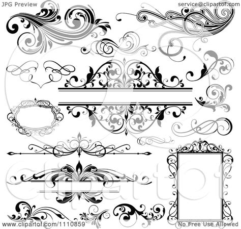 Frame Clipart 1208054 Illustration By by Clipart Black And White Design Elements Frames And
