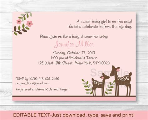 Free Printable Deere Baby Shower Invitations by Pink Willow Deer Baby Printable Baby Shower