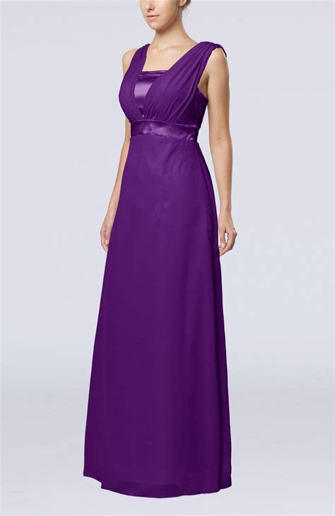 Dark Purple Guest Dress   Elegant Empire Thick Straps Sleeveless Chiffon Floor Length Wedding