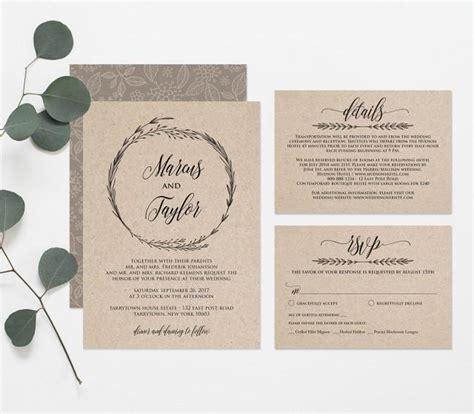 wedding invite text template printable wedding invitation template rustic wreath