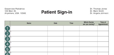 dr office sign in sheet template office supplies