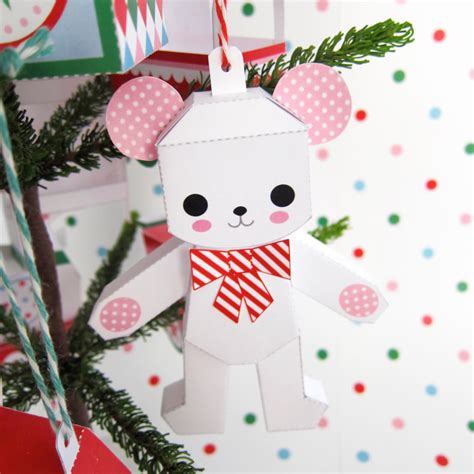 Paper Craft Ornaments - teddy in box rocking ornaments printable