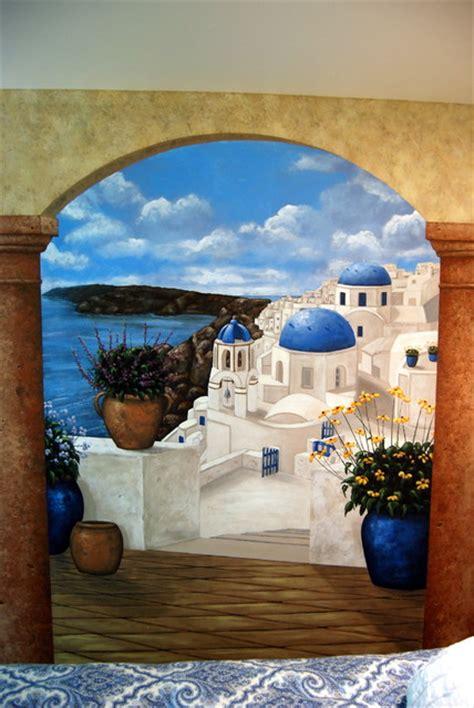 Wall Murals Greece Santorini Greece Mural In A Bedroom By Tom Of Wow