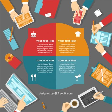 round business infographic template vector free download
