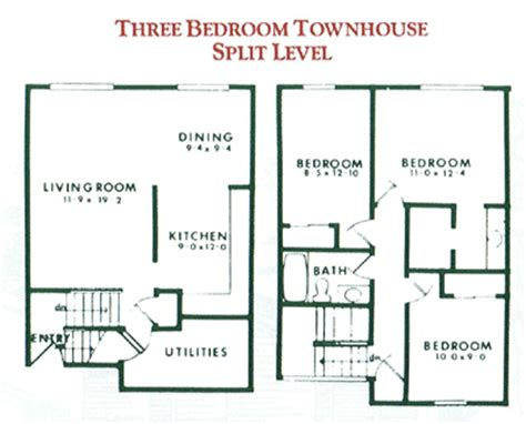 three bedroom townhouse plan design shown represents the three bedroom split level
