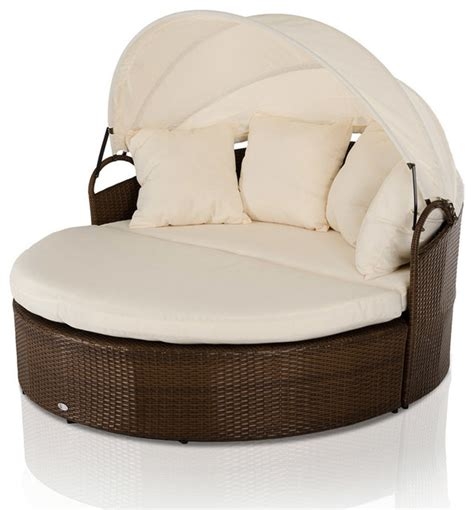 round chaise lounge cove round patio day bed with retractable sun cover
