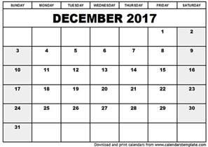 December Calendar Templates by December 2017 Calendar Template Printable Calendar Templates