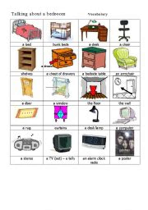 bedroom objects in spanish english teaching worksheets the bedroom