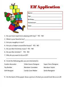 free printable elf application c auntie christmas on pinterest day c cs and