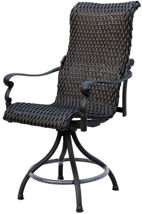 patio furniture wicker aluminum bar chair swivel