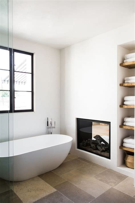 fireplace in bathroom wall cozy bathroom fireplaces with wall shelving
