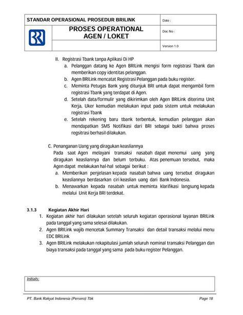 sop brilink standar operasional prosedur agen brilink blog agen brilink bank bri