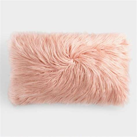 faux fur lumbar pillow oversized blush mongolian faux fur lumbar pillow world