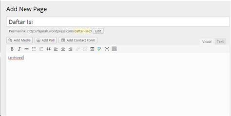membuat daftar isi yang bagus cara membuat daftar isi di blog wordpress com