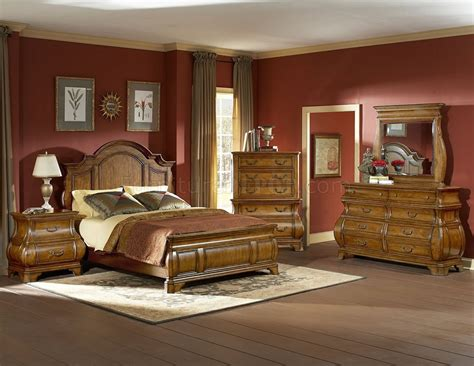 traditional style bedroom warm brown finish traditional style bedroom w optional items