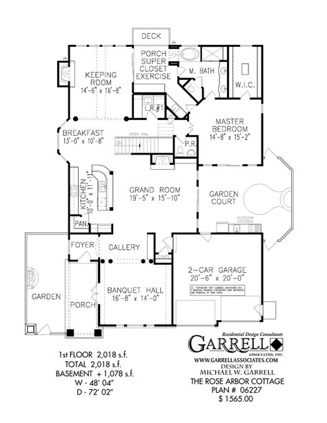 one floor cottage house plans rose arbor cottage house plan house plans by garrell associates inc