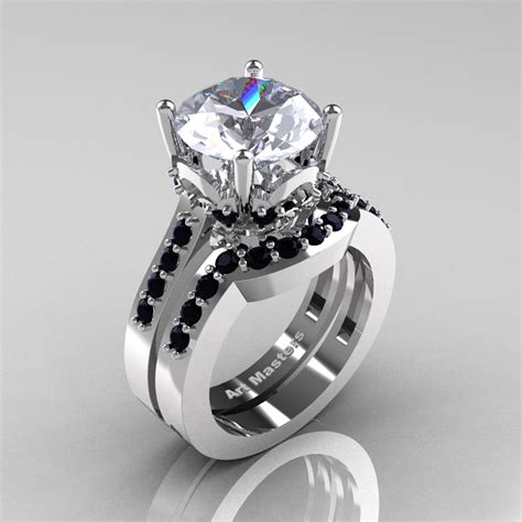 Black Sapphire 6 8 Ct classic 14k white gold 3 0 ct white sapphire black