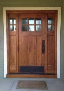 Flat Front Doors This Craftsman Style Door And Sidelights Built Of Rustic White Oak Features Flat Panels And