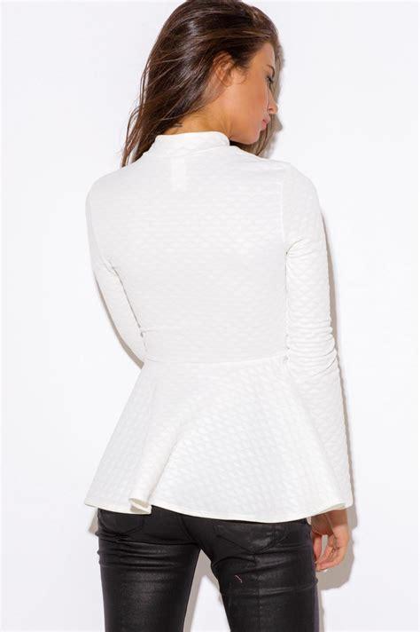 Blazer Jaket Ivory White Quilted Peplum Blazer Modishonline