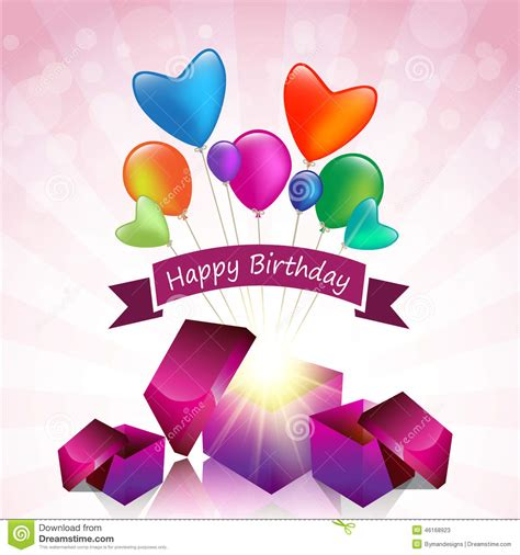 Gift Birthday Card - happy birthday card with magic gift box and colored balloon stock vector image 46168923