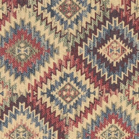 western upholstery blue beige red and green diamond southwest style