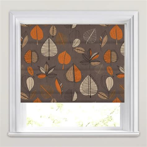 brown patterned roman blinds dramatic orange beige brown taupe leaves patterned