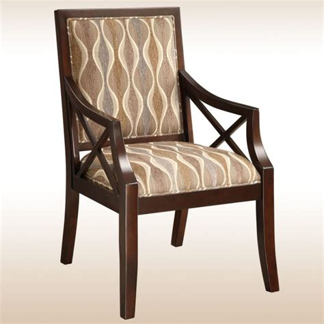 Wooden Accent Chair Furniture Brown Polished Wooden Accent Chairs With Arms And Brown Pattern Fabric Back Also Seat