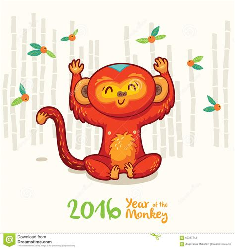 new year 2016 monkey symbol new year card with monkey for year 2016 stock vector