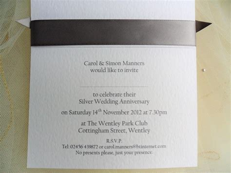 60 p each 25th Silver Wedding Anniversary Invitations