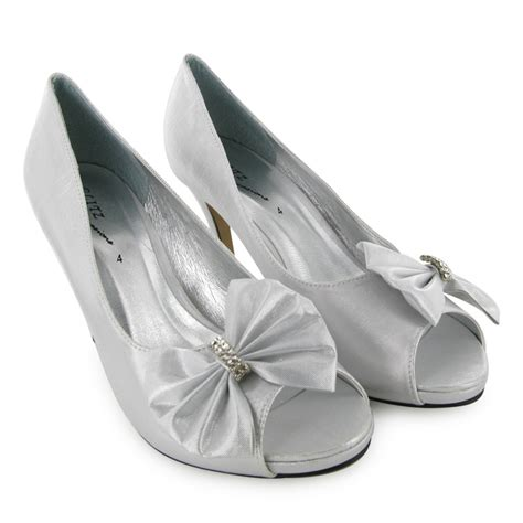 Silver Satin Wedding Shoes by Satin Silver Peep Toe Wedding Shoes New Size 3 8 Ebay