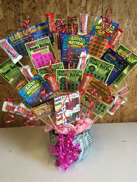 themed birthday gift baskets lottery ticket gift basket i made for my mom s 64th
