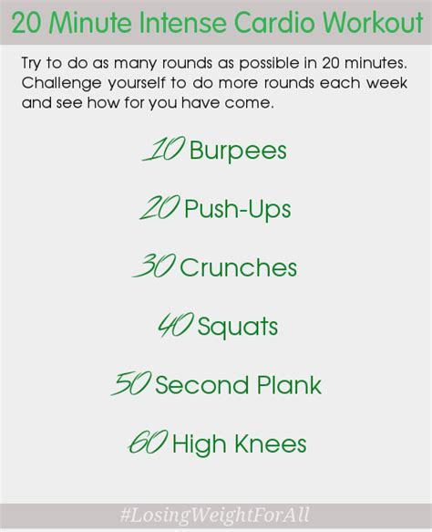 20 minute cardio workout losing weight for all