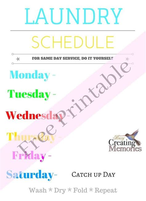 printable laundry schedule laundry room hacks free laundry schedule printable