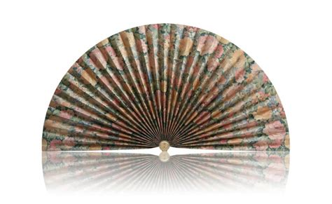 decorative pleated window fans gold with multi colored flowers decorative fan