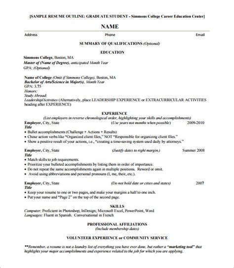 Resume Template Outline by 9 Resume Outline Templates Doc Excel Pdf Free