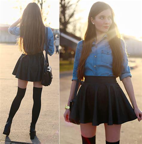 ariadna majewska denim shirt leather skirt leather