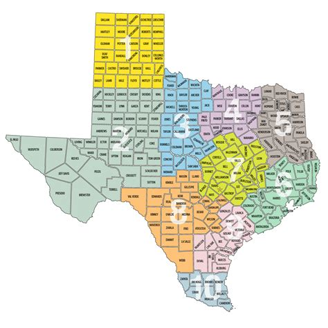 texas map with regions regions of tcma texas city management association