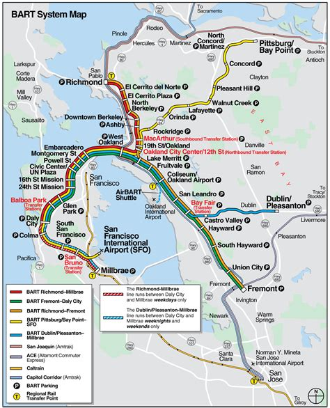 san francisco map with bart san francisco bart system map railway mapsof net san