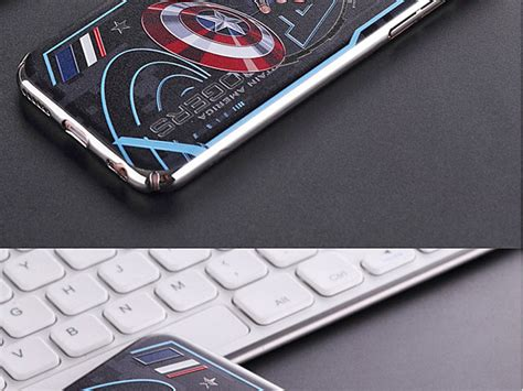 iphone   captain america electroplating color carving case