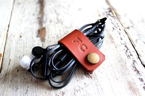 Earphone Organizer cord holder cord organizer earbud holder leather cable
