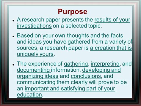 what is the purpose of a research paper purpose of research paper