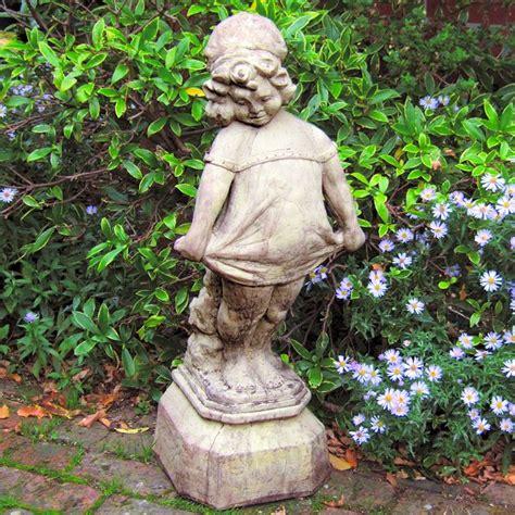 large victorian girl figure stone garden figures