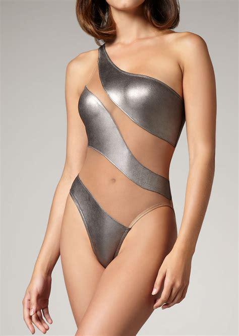 One Shoulder One Swimwear splicing one shoulder one swimsuit fairyseason
