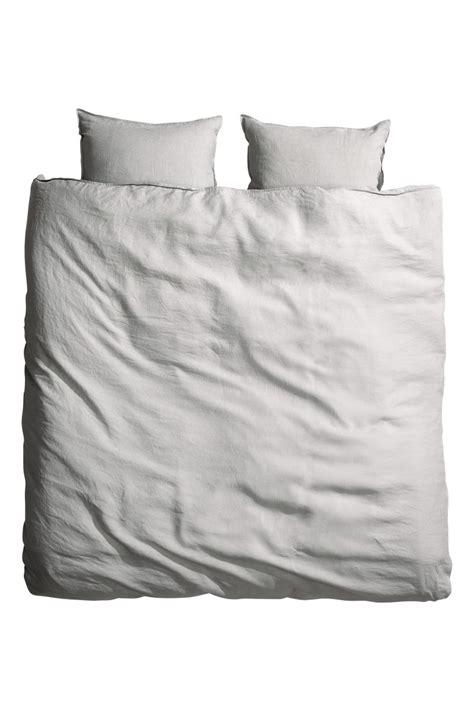 h m bedding washed linen duvet cover set light gray h m home h m us