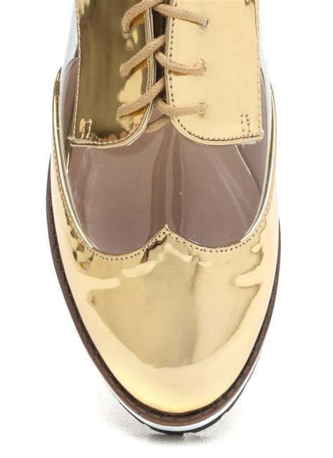 clear oxford shoes tomboy style clear metallic oxford flats gold silver