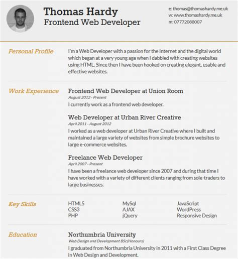Best Resume Header Format by Responsive Html Css3 Cv Template
